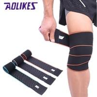 Aolikes 1 قطع 150*8 cm الضمادات المرنة الاثقال اللياقة الرياضية ملفوفة ضغط واقية الركبة الركبة الإلتواء