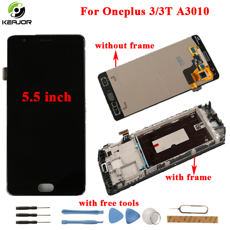 for Oneplus 3 3T LCD Display Touch Screen Frame HD Tools Glass Panel Accessories Replacement For