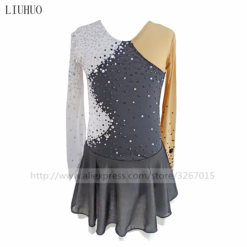 Figure Skating Dress Women's Girls' Ice Skating Dress Gymnastics Dress Competition Adult Child Girl Training Skirt Performance drop shoulder crew neck plain sweatshirt
