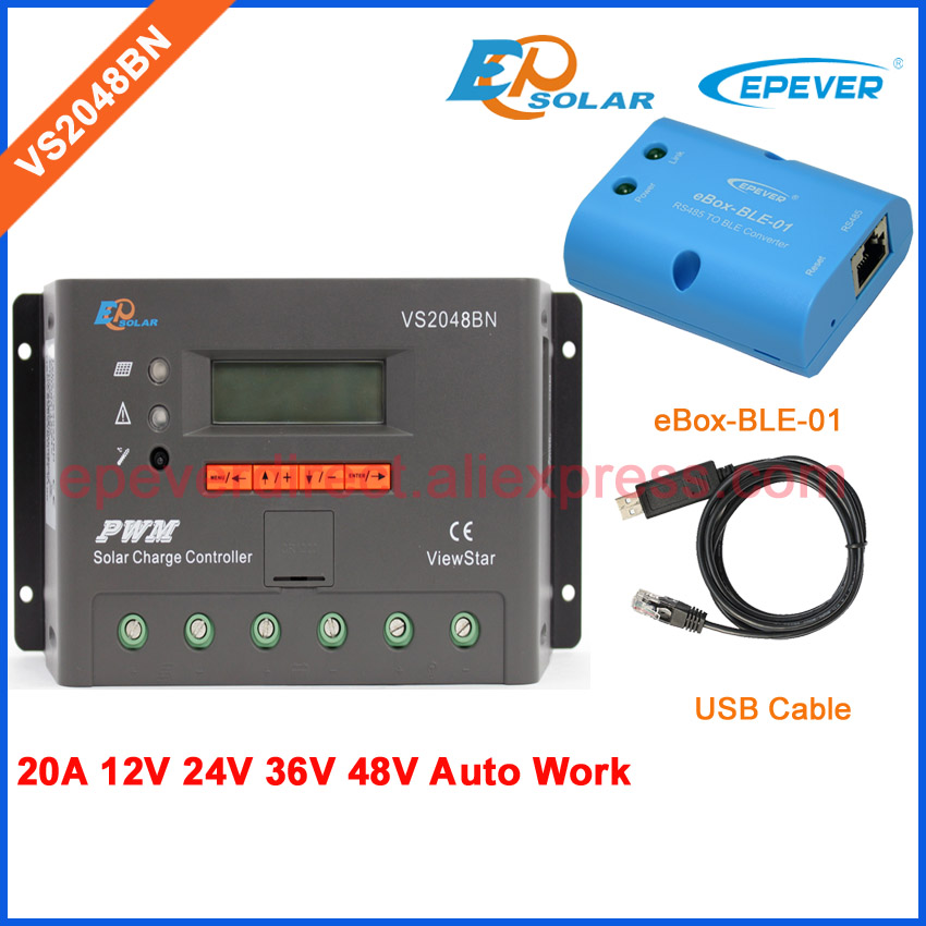 BLE BOX VS2048BN 20A 24V 48V Work USB cable solar PWM 20amp charger controller EPEVER communication cable connect PC pwm new solar controller viewstar series vs2024bn with usb communication cable 20a 12v 24v wifi connect app box adapter