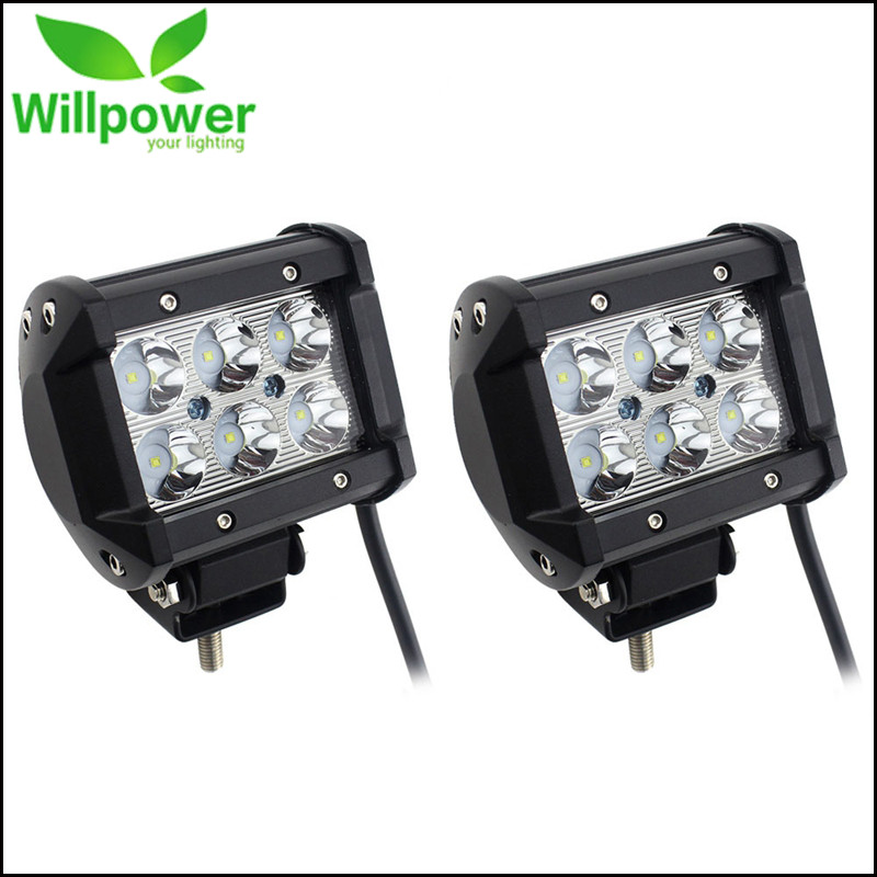 2pcs 18W Led Driving Light 18W LED Light Bar Spot Flood 12 Volt 4 Inch LED Work Light Bar For Niva 4X4 ATV Offroad Boat