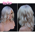 Hot brazilian loose wave platinum blonde wig middle part lace front wigs 60# 16inch glueless with baby hair free ship for women