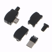 10 Sets5 Pin Right Angle Micro USB Connector Male Plug Kit with Black Cover Solder Jack 20pcs dc3 10 pin shrouded male header 2 54mm right angle
