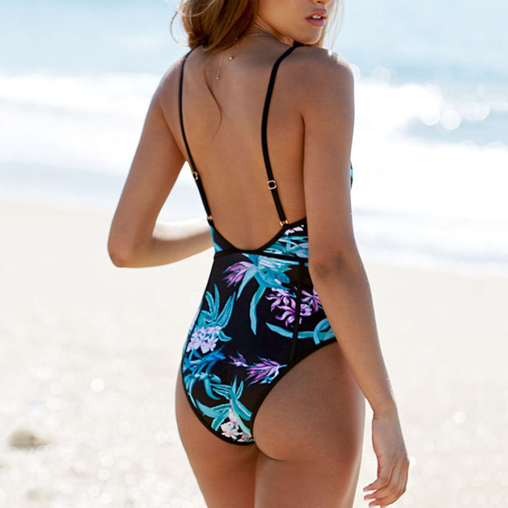 One Piece Swimsuit 2018 Women High Waist Corset Swimwear Floral Print Push-up Bodysuit Monokini Bathing Suit Beachwear Plus Size high waist strap swimwear monokini women push up triangle swimsuit maillot de bain lace bodysuit bathing suit plus size