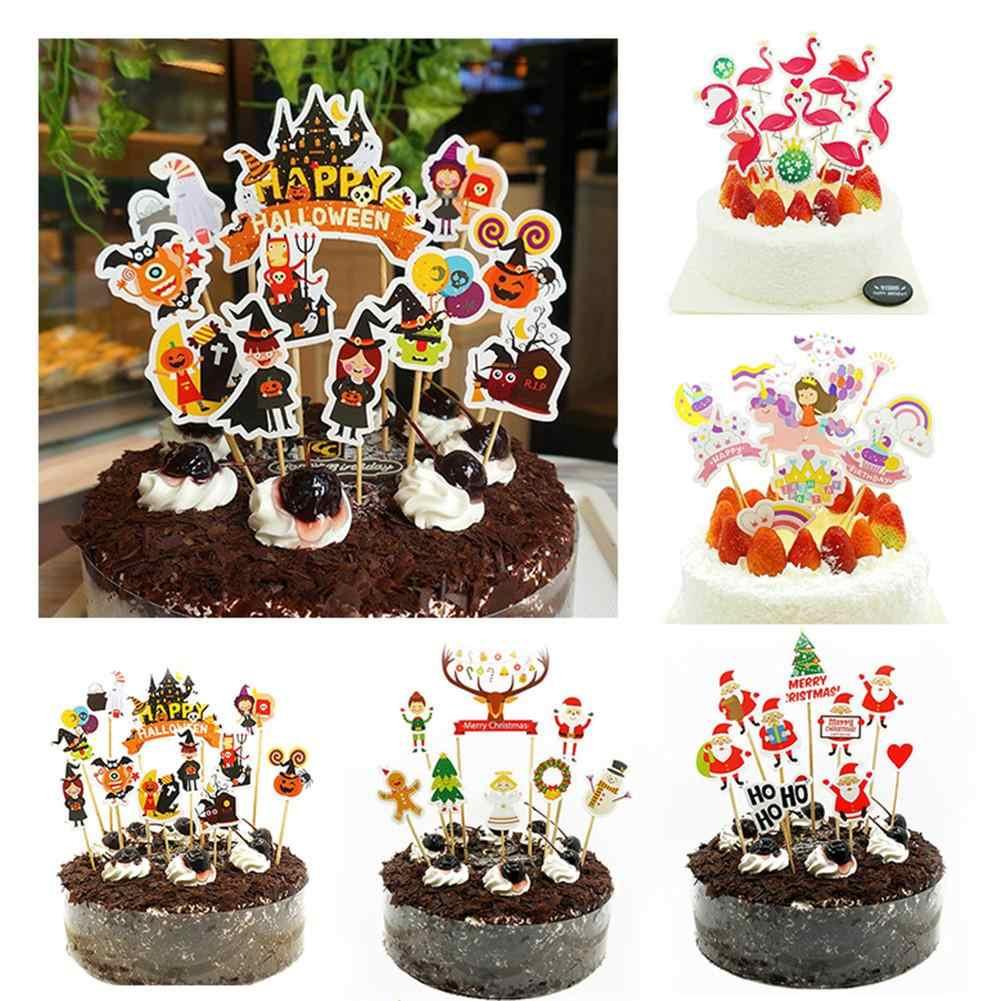 10pcs Set Flamingo Birthday Cake Toppers Decoration Cupcake Decor For Girl Kids Halloween Christmas Cake Decoration