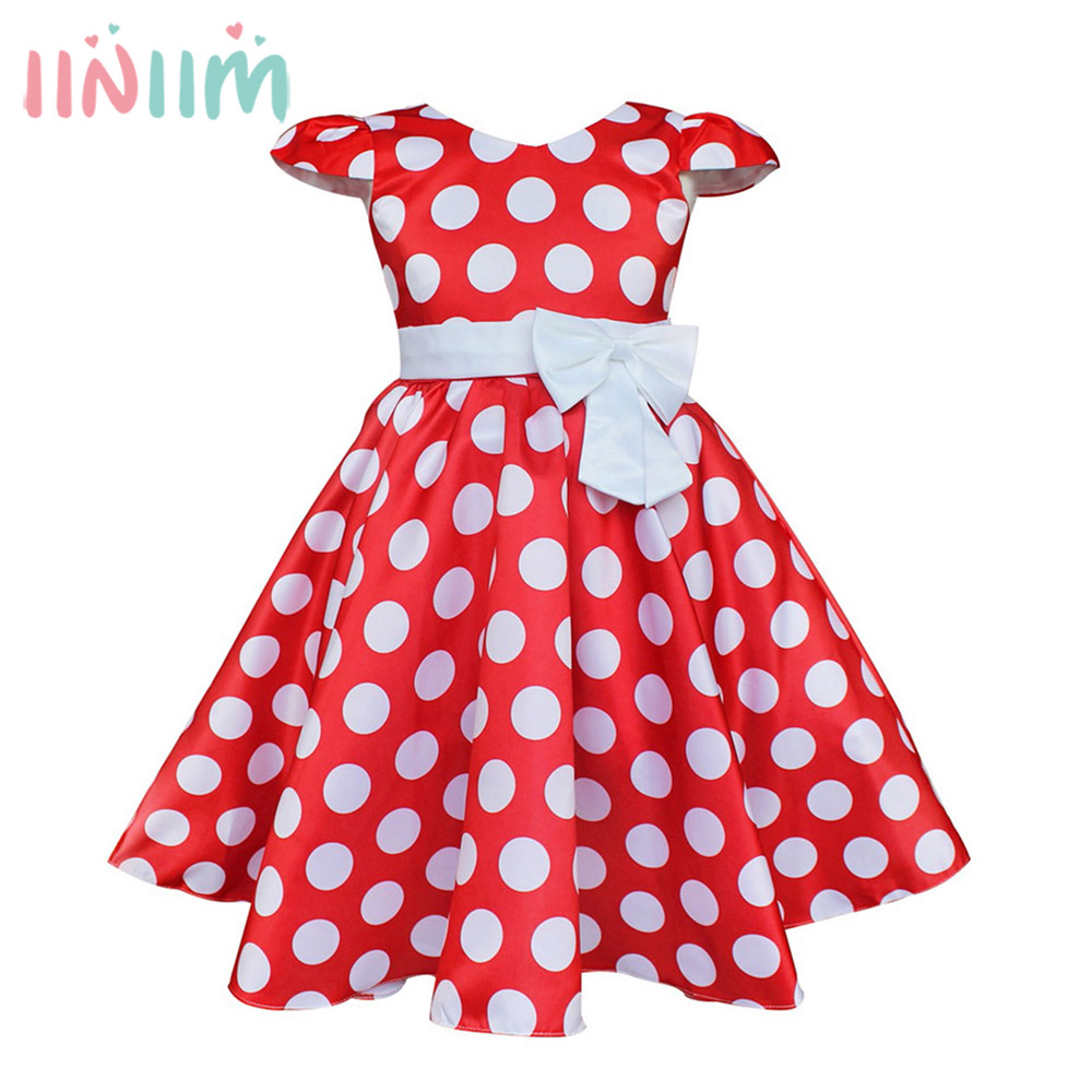 iiniim Girls Polka Dots Cap Dress Summer Princess Tutu Toddler Birthday Party Dress Teen Kids Flower Wedding Costumes Dresses 2017 fashion summer hot sales kid girls princess dress toddler baby party tutu lace bow flower dresses fashion vestido