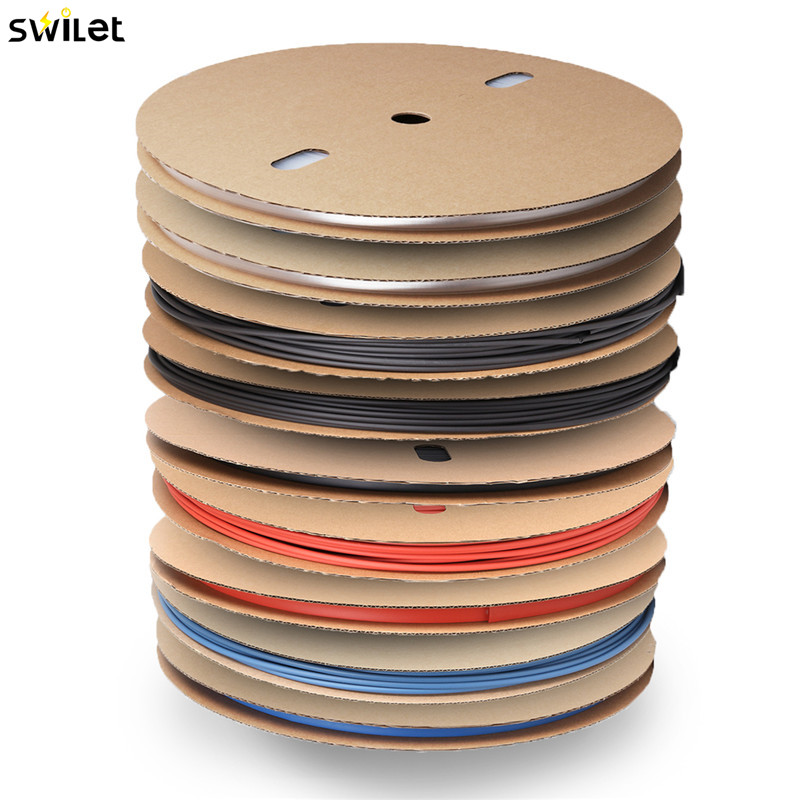 SWILET NEW 100M/Pack 2:1 RSFR-H Heat Shrink Tubing Bulk Spool Roll Reel Coil Cable Sleeve