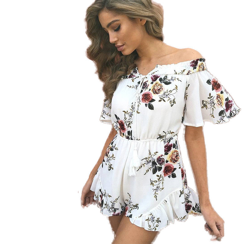 eastlink Sexy Bodysuit floral print jumpsuits for women 2017 Loose playsuits sexy white ladies clothing