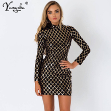 Sexy Black Gold Plaid Sequins Dress women Spring  Autumn Long Sleeve Party Bodycon Dress elegant Night club Dresses Vestidos New цена и фото