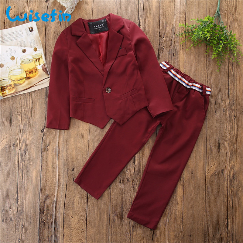 Wisefin Children Boy Formal Suit Blazer Set Winter Spring Coat + Pants 2pcs Kids Gentleman Wedding Party Outfit Suit For Boy winter children boys formal sets 5 pcs woolen blend coat pants vest shirt tie costume wedding birthday party gentleman boy suit