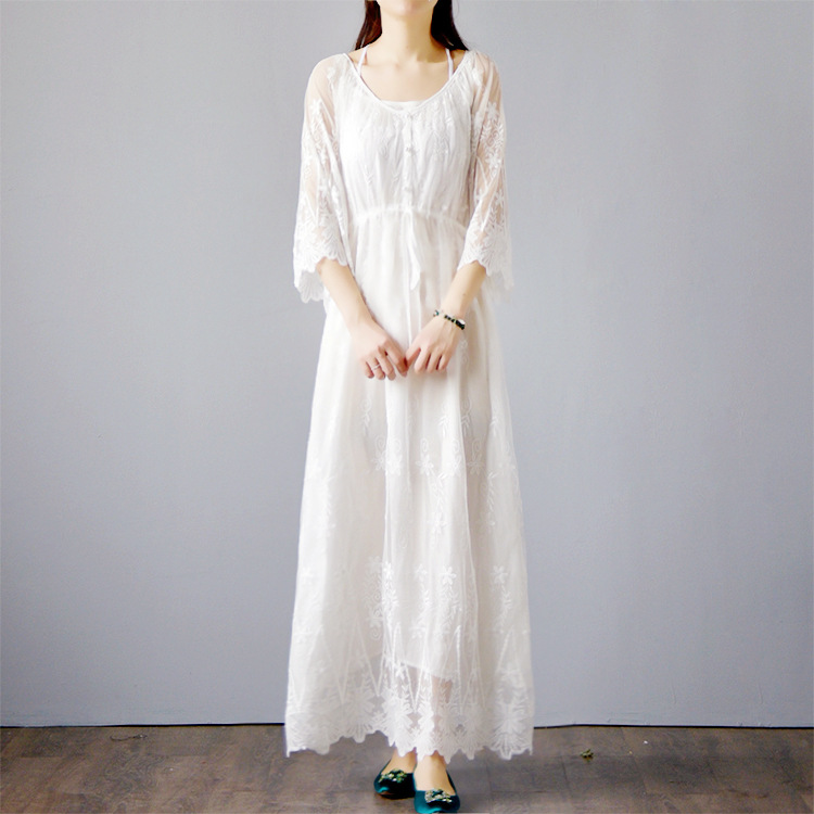 2018 Spring Summer New Brand Lace Embroidery White Long Maxi Hollow Angle Elegant Designer Cloth Women Dress Formal Vestidos
