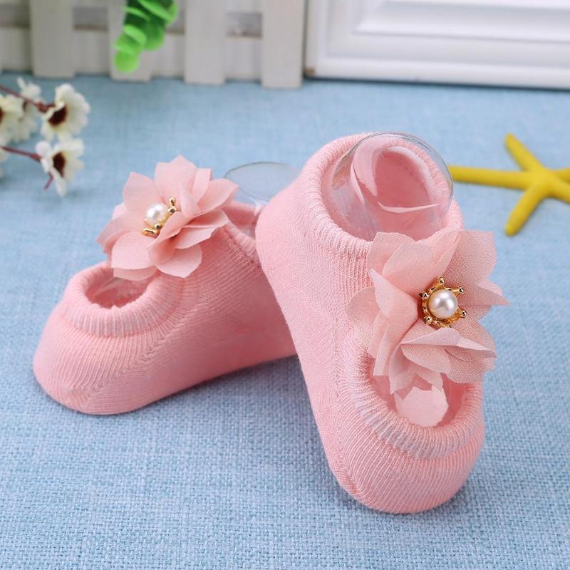 3 Pairs/Lot Flower Bowknot Baby Girls Shoes Socks Soft Cotton Anti-Slip Newborn Toddler Floor Socks Baby Feet Wear Kit