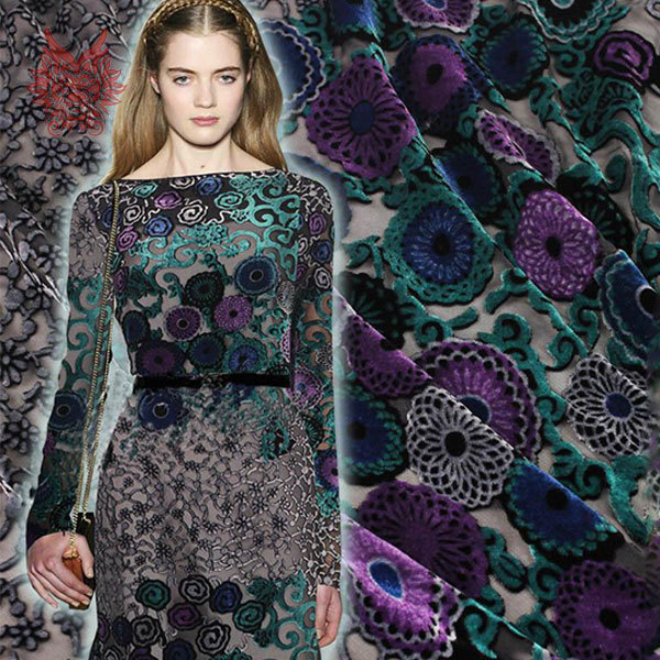 American style green purple flower Flocking fabric silk velvet ...