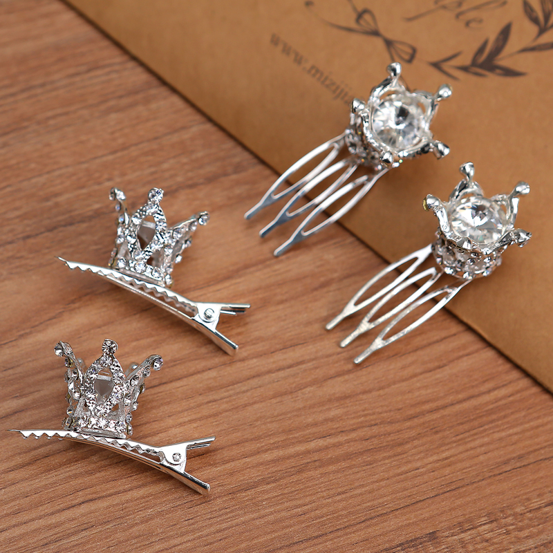 Tjejer Barn Söt Crystal Princess Party Crown Tiara Hair Pin Clips - Märkessmycken - Foto 5