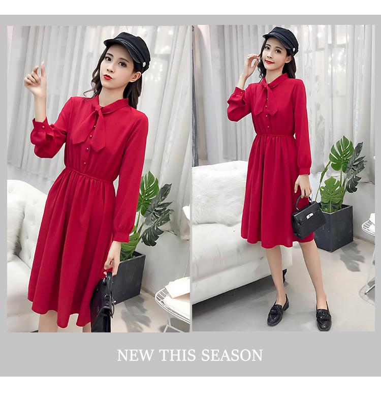 fashion bow collar women dresses party night club dress 2019 new spring long sleeve solid chiffon dress women clothing B101 8