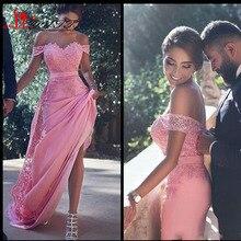 2017 neue Sagte Mhamad Prom Kleider Lange Saudi Arabisch Dubai eine Linie Schulterfrei Spitze Appliques Lange Abendkleider Formale Partei kleider