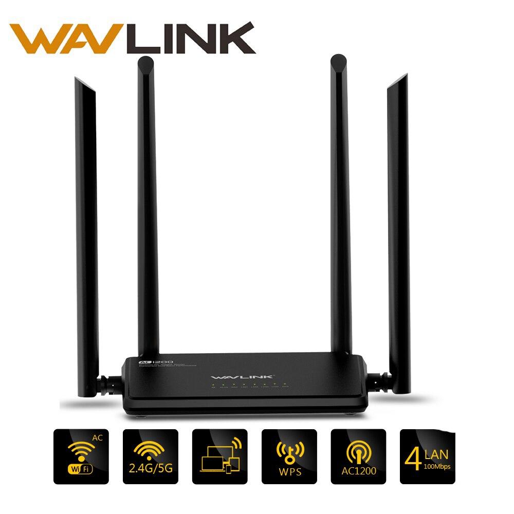 Wavlink AC1200 Беспроводной Wi-Fi маршрутизатор высокой мощности двухдиапазонный 2,4 ГГц Wi-Fi маршрутизатор повторитель 5 ГГц с 4 * 5dBi высокой усиления ...