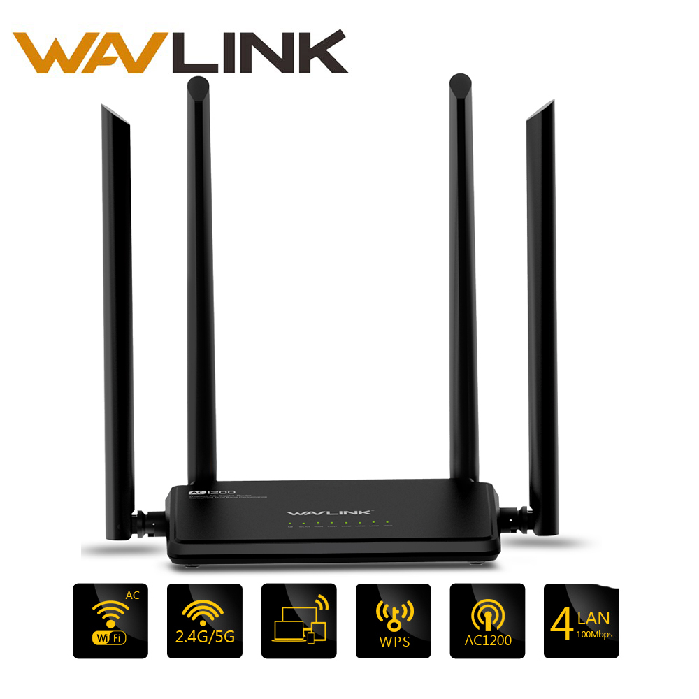 Wavlink AC1200 Wireless Wifi Router High Power Dual Band 2.4GHz Wifi Router Repeater 5GHz with 4*5dBi High Gain External AntennaWavlink AC1200 Wireless Wifi Router High Power Dual Band 2.4GHz Wifi Router Repeater 5GHz with 4*5dBi High Gain External Antenna