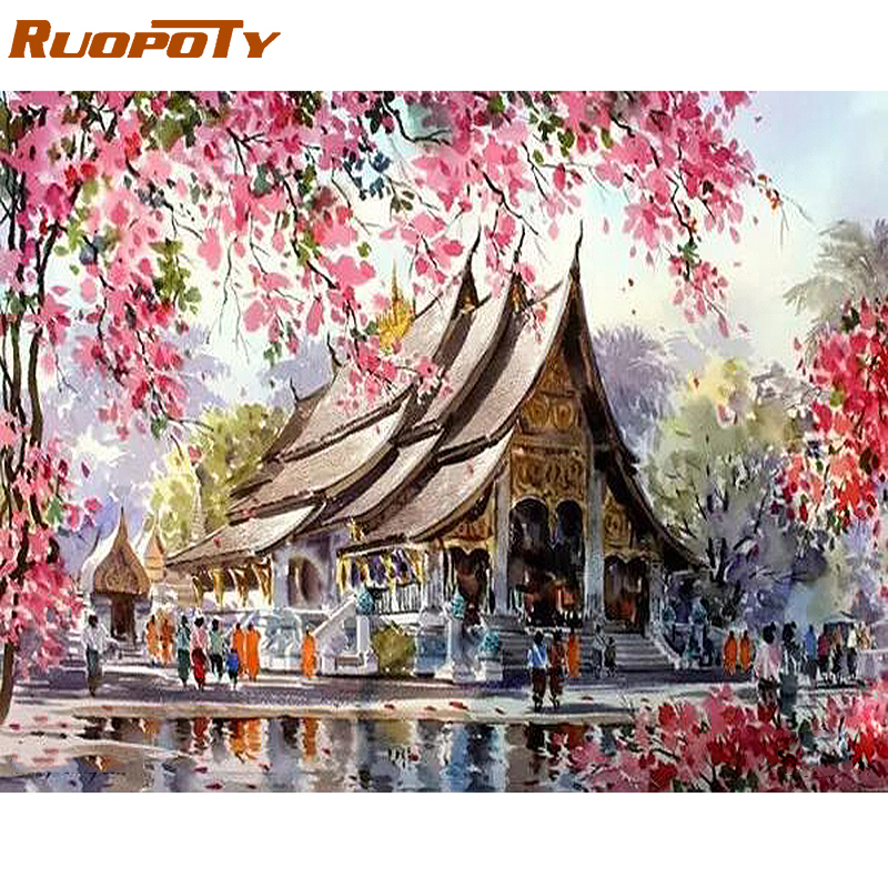 RUOPOTY templo marco DIY pintura por números paisaje caligrafía acrílico pintura por números para la decoración casera 40x50 CM artes