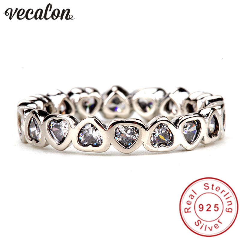 Vecalon Heart Shape Jewelry 925 Sterling Silver ring 5A Zircon Cz Diamont Engagement wedding Band rings for women Bridal Gift vecalon heart shape jewelry 925 sterling silver ring 5a zircon cz diamont engagement wedding band rings for women bridal gift
