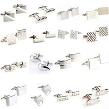 Srebrny kolor stal nierdzewna cufflink mankiet Link 1 pair Darmowa wysyłka duża promocja tanie tanio Tie Clips Cufflinks Moda TZG105 Cuff Links Stone Mężczyzn Klasyczny Simulated-pearl Various