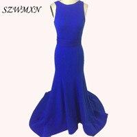 2017ロイヤルブルーフリルロングマーメイドウエディングドレス背中の開いエレガントウエディングドレス女
