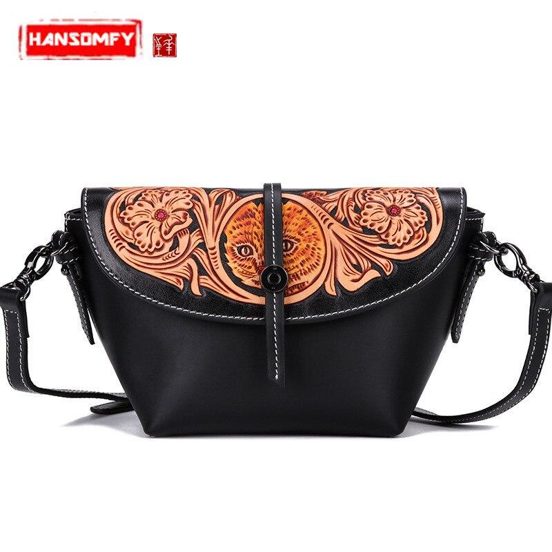Handmade leather carving Women handbags female Messenger bag retro bag original first layer cowhide leather small shoulder bag