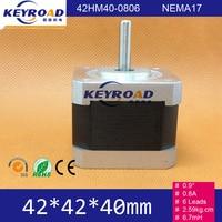 Cheap NEMA17 Bipolar Step Motor 0.9 degree 2.59Kg.cm 6wires 0.8A 42mm 2phase Hybrid Stepper Motor Free shipping