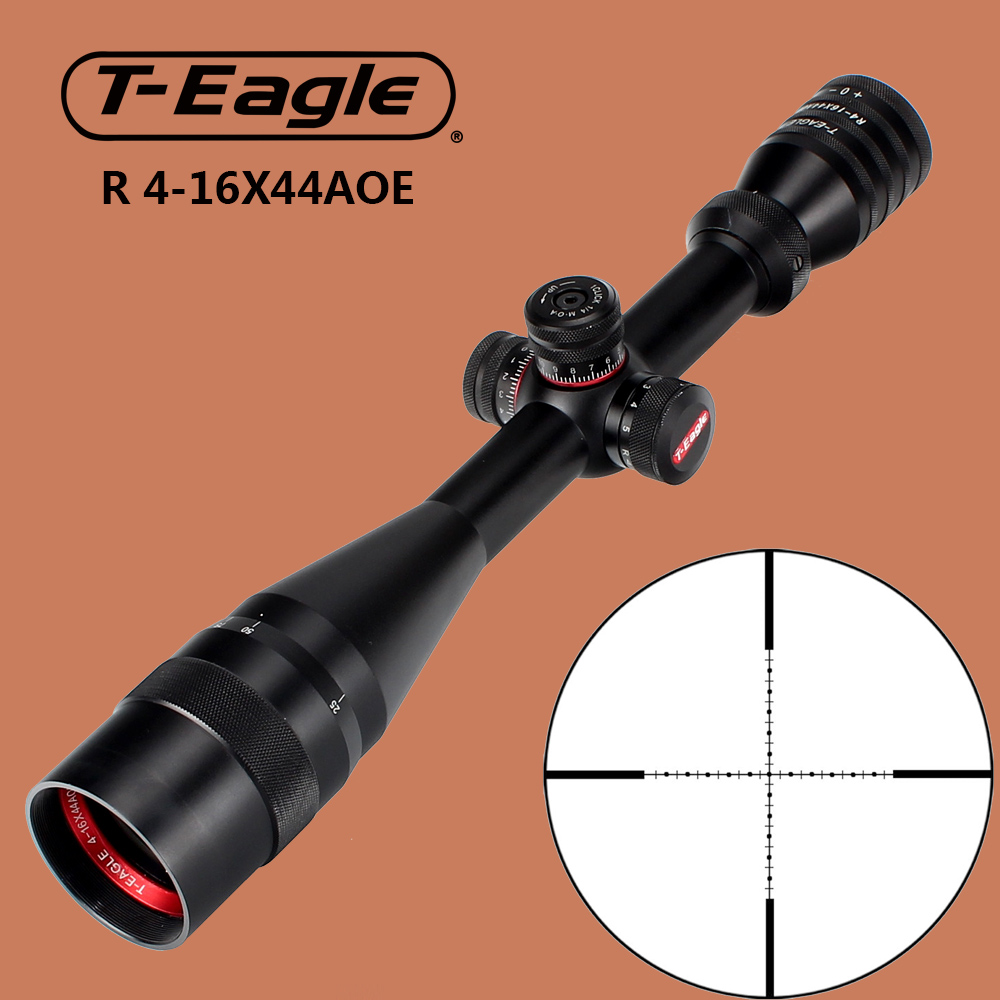 T-Eagle R 4-16X44AOE Tactical Optics Sights Hunting Riflescope Red Green Illuminated Rifle Scope with Windage Turrets Lock Reset ohhunt 2 5 10x40 aoir hunting optics sights rgb half mil dot illumination reticle with windage elevation lock reset rifle scopes