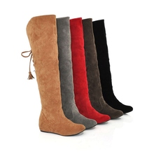 Women Winter Hot Stretch Shoes Suede Fashion Flat Round Toe Over Knee Boots Flange Tassels Thigh High Long Knee High Boots