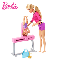 Barbie 2019 Gymnastics Coach Dolls Playset Joints Move Girl Pretend Doll Plastic Accessories FXP39 Barbie For Girl's Birthday