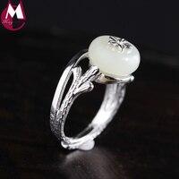 Thời trang Handmade Trắng Jade Ring Cho Phụ Nữ Jewelry Punk Flower Vintage Tree Chi Nhánh Finger Vành Trendy Đảng Wedding Ring SR47
