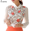 Женщины блузки 2016 лето плюс размер отложным воротником печати белый шифон блузка с длинным рукавом для женщин blusa feminina