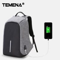 TEMENA Fashion Men USB Charging Function Laptop Backpacks School Bag Waterproof Anti Theft Backpack For Male