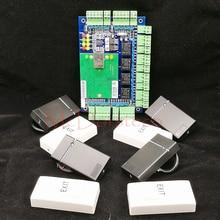 Tcp/ip Сети L04 Интеллектуальный Четыре Двери Контроля Доступа Комплект Доступ панель + 4 ШТ. Rfid Считыватель Карт Доступа Двери Безопасности система