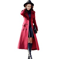 British Style New 2017 Fall Winter Women Solid Woolen Cashmere Long Coat Maxi Female Belted Overcoat