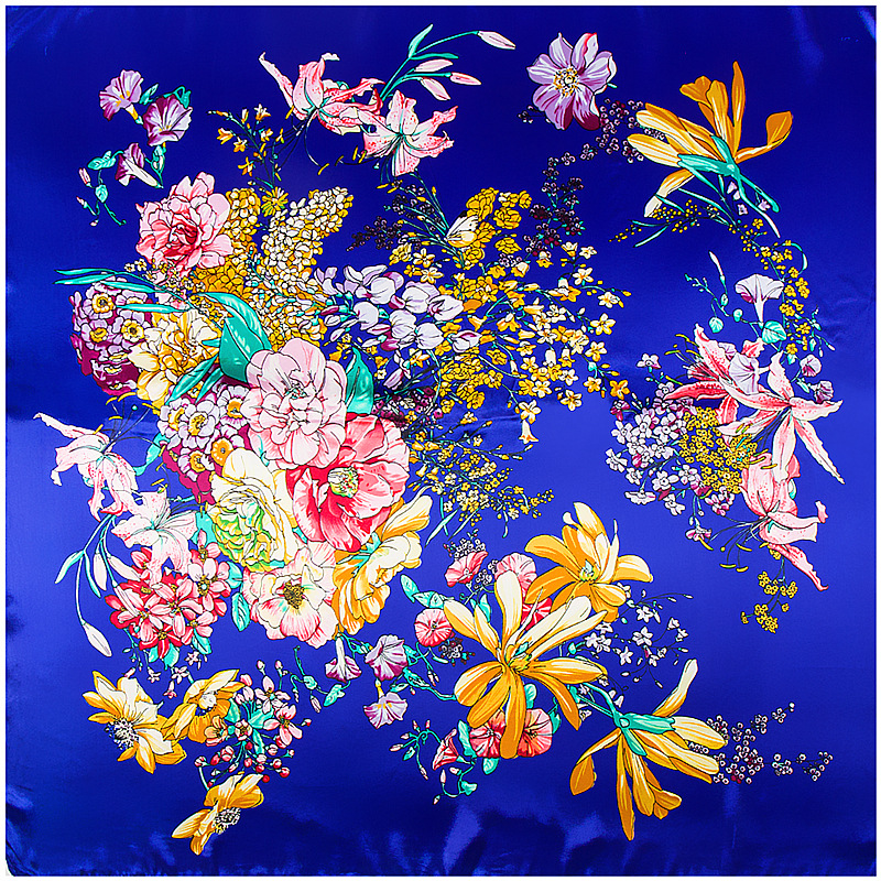 2019 New Pansy Floral Painting Square   Scarf   Luxury Brand Silk   Scarf   For Women Hijab Shawl Foulard   Scarves     Wraps   For Ladies