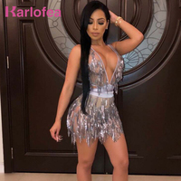 Karlofea Women Sexy Deep V Neck Club Night Party Wear Vestidos Shiny Sequin Fringe Backless Lace Up New Sheer Mesh Mini Dresses