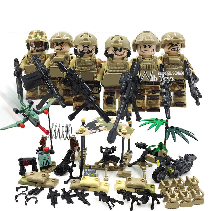 6pcs Delta Force MILITARY Army SWAT Navy Seals Team WW2 Soldiers Weapon Building Blocks Bricks Figures Gifts Toys Boys Children ww2 tunisia campaign soviet union military army with 12 mini soldiers figures toys for children building blocks christmas