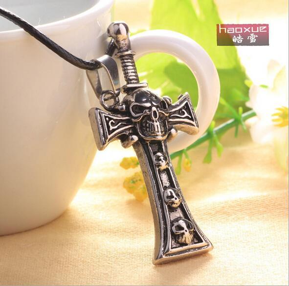 1pc valentines day Wholesale Stainless Steel Vintage skull cross Warrior Sword Pendant Necklace For Man Men
