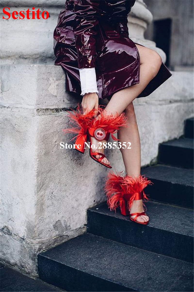 Thick Stud Unique Girls Button Embellished Shoes Design 2018 Heels Arrival  Feather Chunky New Party Toe ... 1bee72cfe7d5