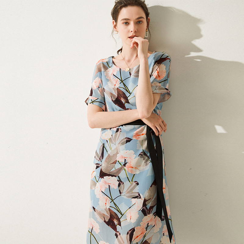 Summer High Quality Silk Dress Plus Size Printed Pleated Belt Mid office lady 100 Real Silk