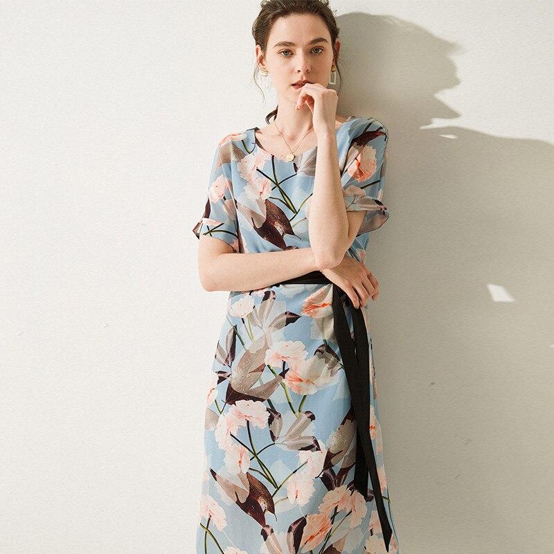 Sommer Hohe Qualität Seide Kleid Plus Größe Gedruckt Plissee Gürtel Mittlere büro dame 100% Echt Silk Kleid Frauen 2019-in Kleider aus Damenbekleidung bei  Gruppe 1