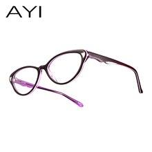 1370c2df08fe أيي 2017 الأزياء القط المرأة النظارات إطار خلات خمر مصمم ماركة نظارات إطار  بصري  303517