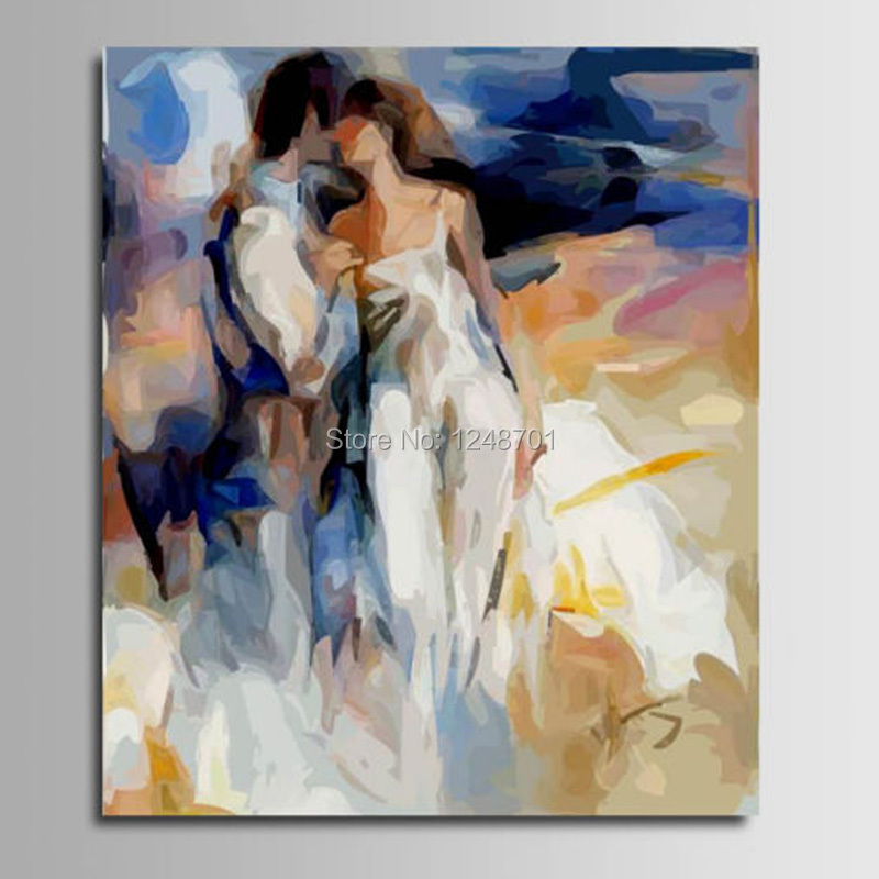 Us 56 05 Hand Painted Modern Canvas Art Abstract Impression Figures Couples Oil Painting On Canvas Couple Figure Art Wall Picture Decor In Painting