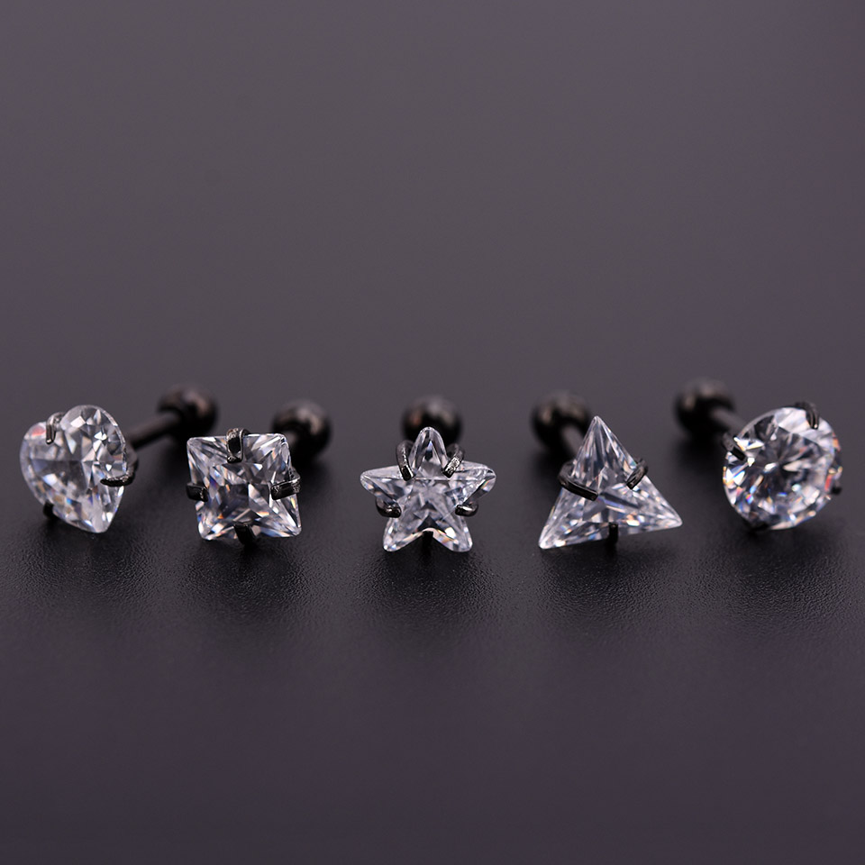 Black Zircon Crystal Heart Square Round Ball Tongue Lip Bar Ring Stainless Steel Barbell Ear Stud Body Piercing Jewelry