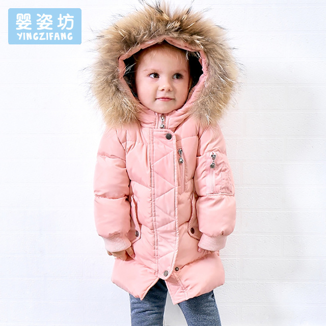 0ab990c0a30 2018 Winter Baby Down Jacket Coat Toddler Girls Outerwear Casual Style  Cotton Down Jacket Thick Hooded Fur Coat Clothes