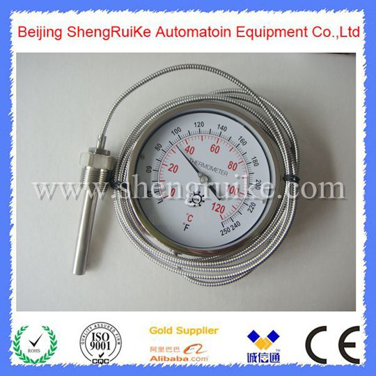 Capillary Remote bimetal thermometer SS 304 case, best price ,high quality remote bimetal thermometer with capillary dial 3