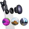 Lente ojo de pez 3 en 1 Teléfono Móvil Clip de Lentes de Ojo de Pez Gran Angular lente de la cámara macro para iphone 7 6 s plus 5S xiaomi redmi 3 huawei