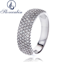 Compatible With European Jewelry Real 100 925 Sterling Silver Wedding Ring With Clear Cubic Zircon For